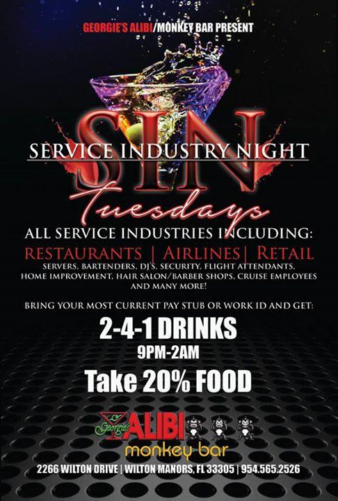 Service Industry Night à Wilton Manors le mar.  5 novembre 2019 de 17h00 à 02h00 (Clubbing Gay)