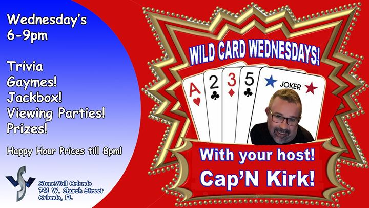 Wild Card Wednesdays! in Orlando le Wed, October 30, 2019 from 06:00 pm to 09:00 pm (After-Work Gay)