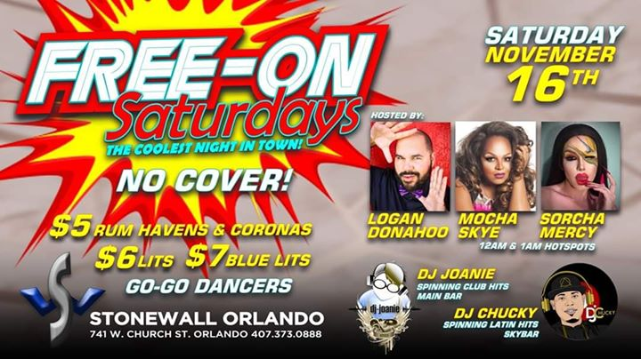 Free-On Saturdays! en Orlando le sáb 16 de noviembre de 2019 21:00-02:00 (Clubbing Gay)