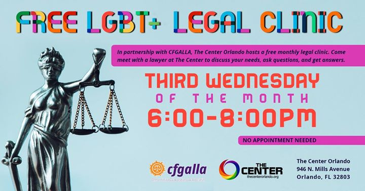 OrlandoLGBT+ Legal Clinic2019年 6月21日,18:00(男同性恋, 女同性恋 见面会/辩论)