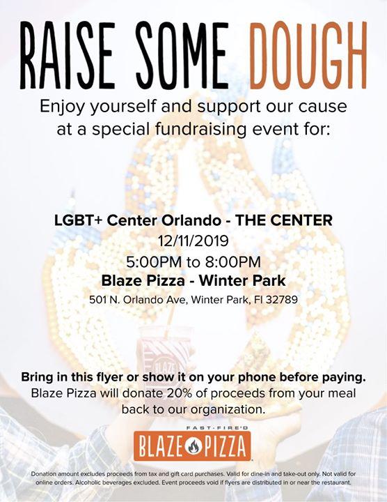 Blaze Pizza Fundraiser em Winter Park le qua, 11 dezembro 2019 17:00-20:00 (Angariação de fundos Gay, Lesbica)