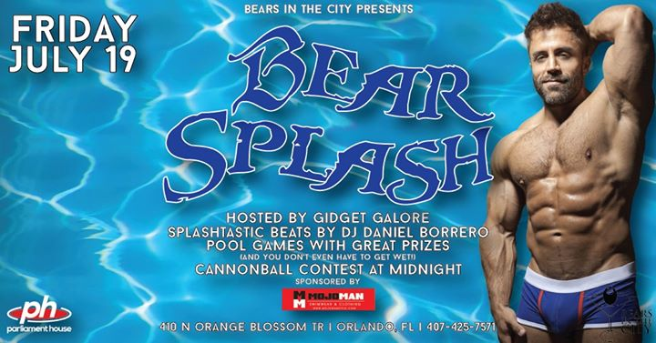 Bears Night Out - Bear Splash a Orlando le ven 19 luglio 2019 22:00-02:00 (Clubbing Gay, Orso)