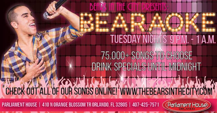 OrlandoBearaoke Tuesdays2019年 9月 8日,21:00(男同性恋, 熊 下班后的活动)