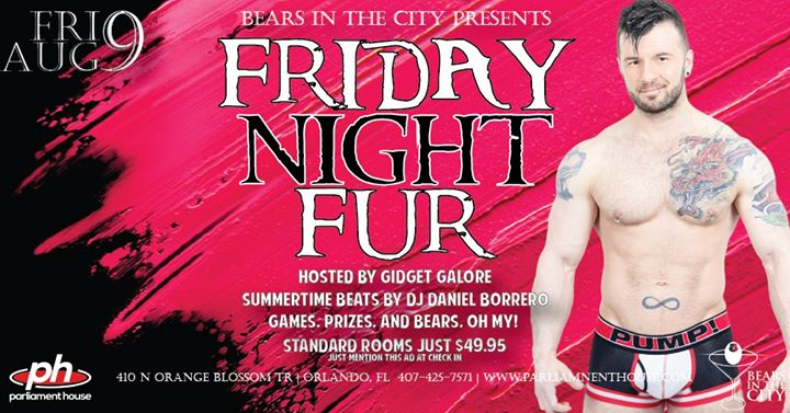 Bears Night Out - Friday Night Fur a Orlando le ven  9 agosto 2019 22:00-02:00 (Clubbing Gay, Orso)