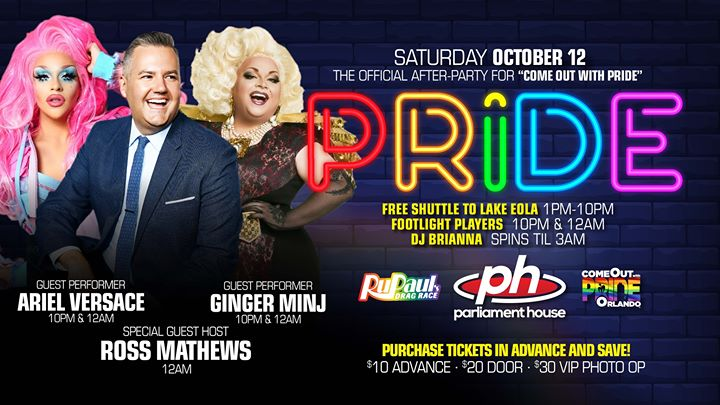 PRIDE AFTER-PARTY · ARIEL VERSACE · ROSS MATHEWS · GINGER MINJ in Orlando le Sa 12. Oktober, 2019 20.00 bis 03.00 (Clubbing Gay, Bear)