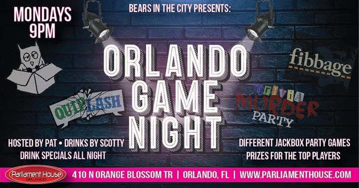 Orlando Game Night in Orlando le Mon, October  7, 2019 from 09:00 pm to 12:00 am (After-Work Gay, Bear)