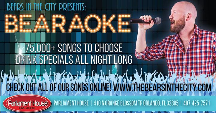 OrlandoBearaoke Thursdays2019年 9月19日,21:00(男同性恋, 熊 下班后的活动)