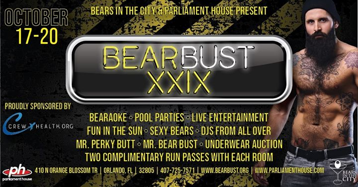 Bear Bust XXIX in Orlando le Thu, October 17, 2019 from 08:00 pm to 02:00 am (Clubbing Gay, Bear)
