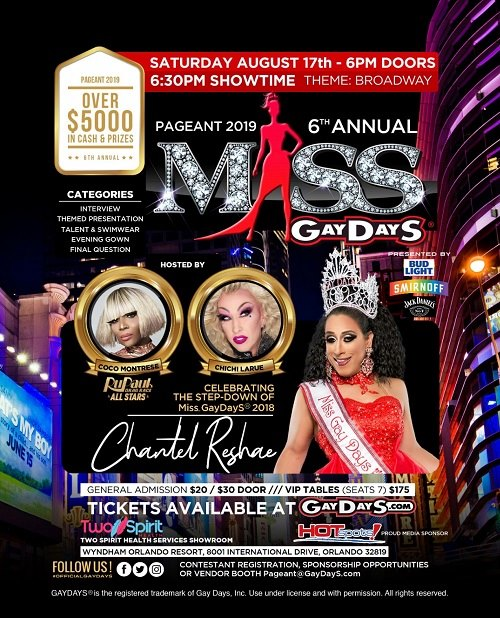 OrlandoMiss GayDayS® Pageant 20192019年 6月17日,18:30(男同性恋, 女同性恋, 变性, 双性恋 下班后的活动)