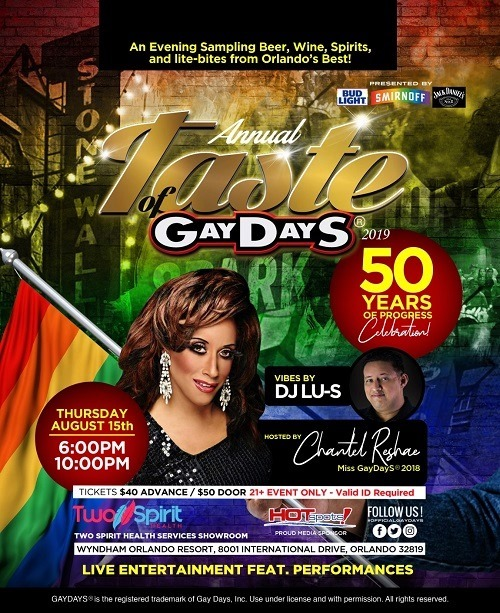 Taste of GayDayS® 2019 | #OfficialGayDayS in Orlando le Thu, August 15, 2019 from 06:00 pm to 10:00 pm (After-Work Gay, Lesbian, Trans, Bi)
