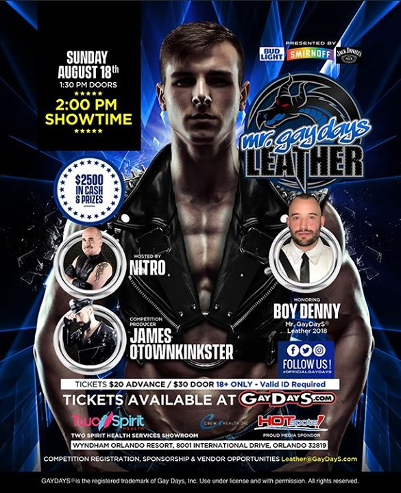 OrlandoMr. GayDayS® Leather 2019 Competition2019年 2月18日,14:00(男同性恋, 女同性恋, 变性, 双性恋 下班后的活动)