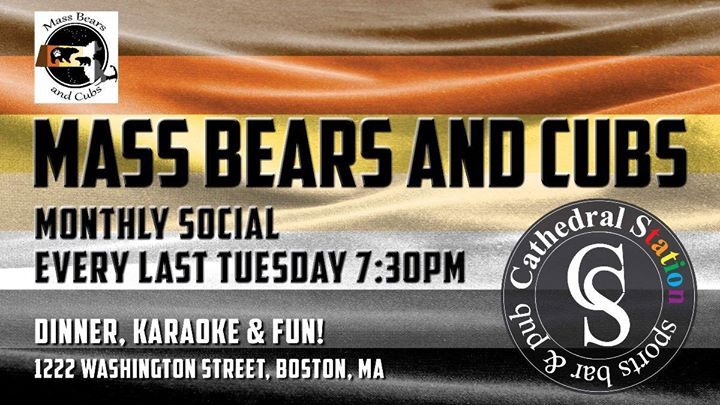 BostonMass Bears and Cubs Social2020年 7月31日,19:30(男同性恋, 熊 下班后的活动)