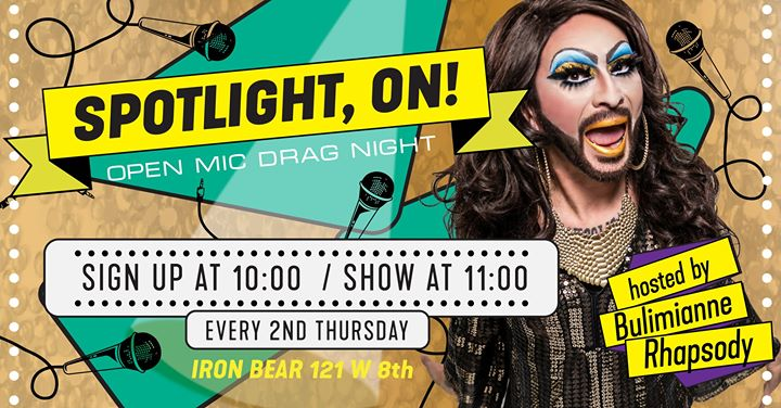 Spotlight, ON! Open Mic Drag Night en Austin le jue 14 de noviembre de 2019 22:00-01:00 (Clubbing Gay, Oso)