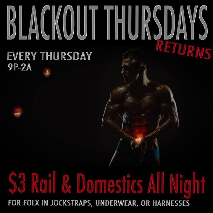 Blackout Thursdays - Every Thursday in Washington D.C. le Thu, May 23, 2019 from 09:00 pm to 03:00 am (Clubbing Gay)