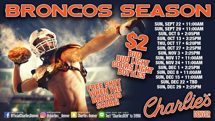 Bronco's Watch Party! a Denver le dom 27 ottobre 2019 14:25-17:40 (After-work Gay)