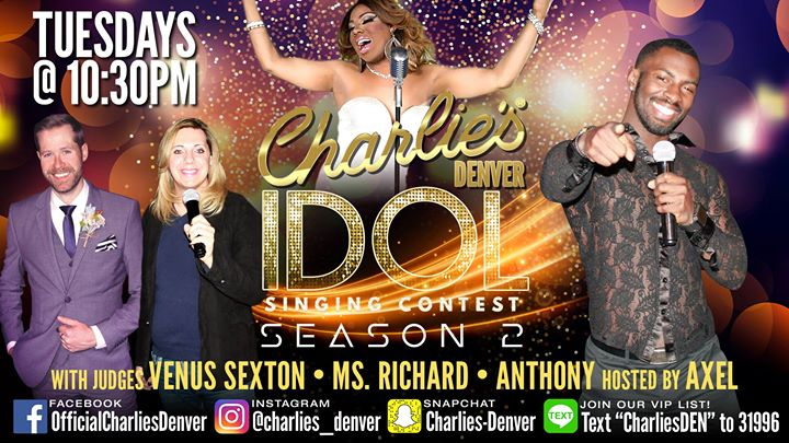 Charlie's Idol in Denver le Di 16. Juli, 2019 22.30 bis 01.00 (Clubbing Gay)