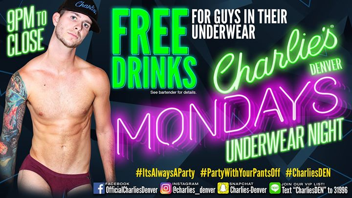 Undie Mondays in Denver le Mon, July  1, 2019 from 09:00 pm to 02:00 am (Clubbing Gay)