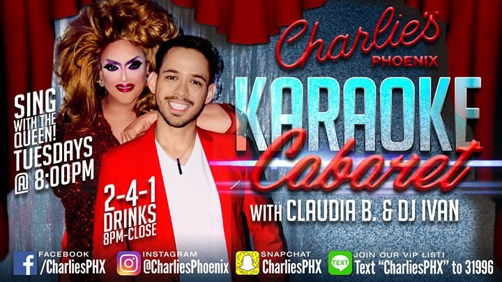 Karaoke Cabaret with Claudia B. & Ivan in Phoenix le Tue, August  6, 2019 from 08:00 pm to 02:00 am (Clubbing Gay)