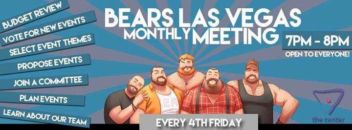 Las VegasBears Las Vegas Update Meeting2019年 7月25日,19:00(男同性恋, 熊 下班后的活动)