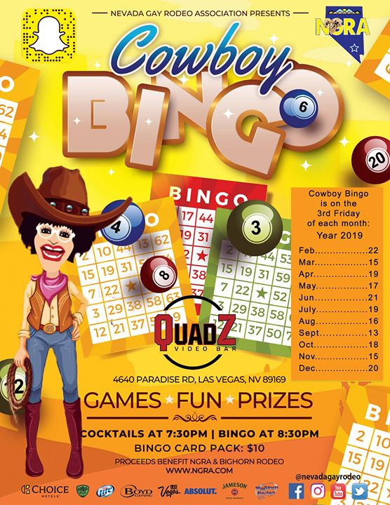 Cowboy Bingo em Las Vegas le sex, 13 setembro 2019 19:30-22:00 (After-Work Gay)