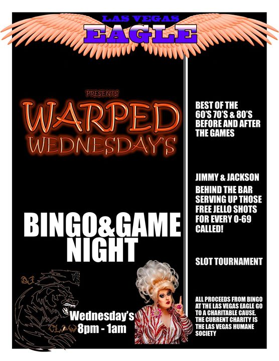 Warped Wednesday's Bingo & Game Night à Las Vegas le mer. 24 juillet 2019 de 20h00 à 23h00 (Clubbing Gay)