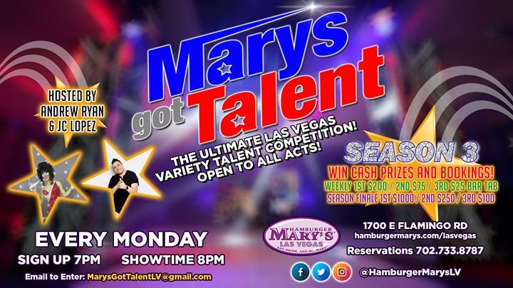 Mary's Got Talent - Season 3 in Las Vegas le Mon, December  2, 2019 from 08:00 pm to 11:00 pm (After-Work Gay)