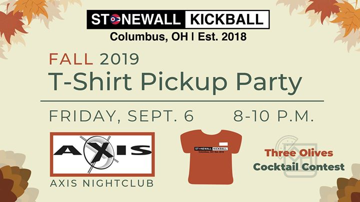 Fall 2019 T-Shirt Pickup Party à Columbus le ven.  6 septembre 2019 de 20h00 à 22h00 (After-Work Gay)