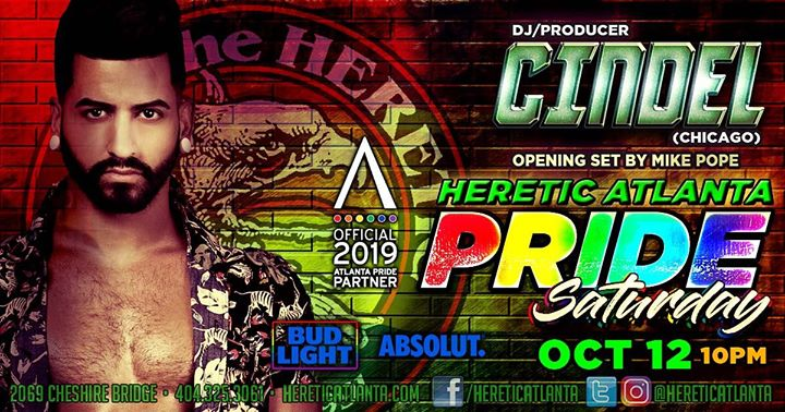 Cindel Heretic Pride Saturday in Atlanta le Sat, October 12, 2019 from 09:00 pm to 03:00 am (Clubbing Gay, Bear)