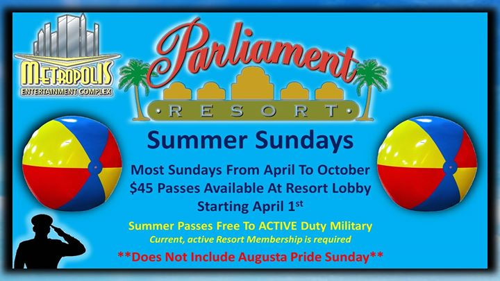 Summer Sundays At Parliament Resort in Augusta le Sun, July 21, 2019 from 12:00 pm to 06:00 pm (Clubbing Gay, Bear)
