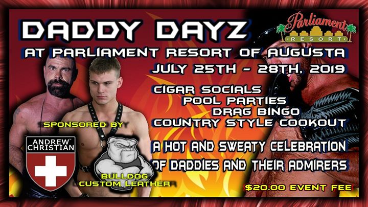 Daddy Dayz At Parliament Resort en Augusta del 25 al 29 de julio de 2019 (Festival Gay, Oso)