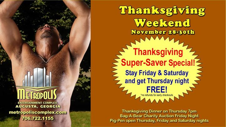 The 2019 Thanksgiving Bearfest Weekend en Augusta del 28 de noviembre al  1 de diciembre de 2019 (Festival Gay, Oso)