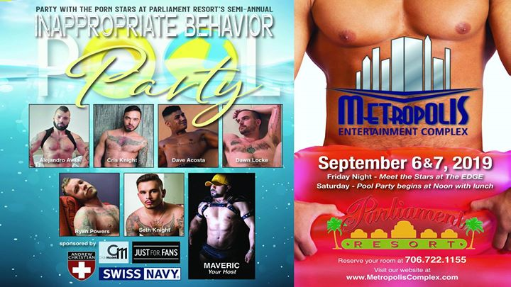 September Inappropriate Behavior Pool Party At Parliament Resort en Augusta del  5 al  8 de septiembre de 2019 (Festival Gay, Oso)