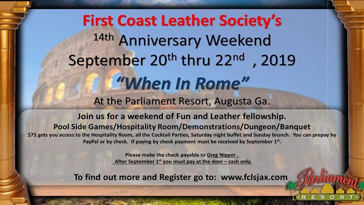 First Coast Leather Anniversary Weekend At Parliament Resort em Augusta de 19 para 22 de setembro de 2019 (Festival Gay, Bear)