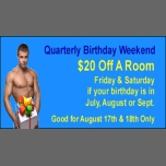 Quarterly Birthday Weekend à Augusta le ven. 17 août 2018 de 14h00 à 12h00 (Festival Gay, Bear)