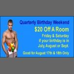 Quarterly Birthday Weekend à Augusta le ven. 17 août 2018 de 14h00 à 12h00 (Festival Gay, Bear)