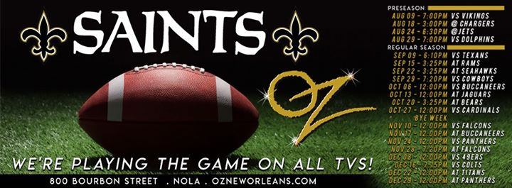 Oz New Orleans Saints Viewing Party in New Orleans le Sun, September 15, 2019 from 03:25 pm to 05:55 pm (Clubbing Gay)