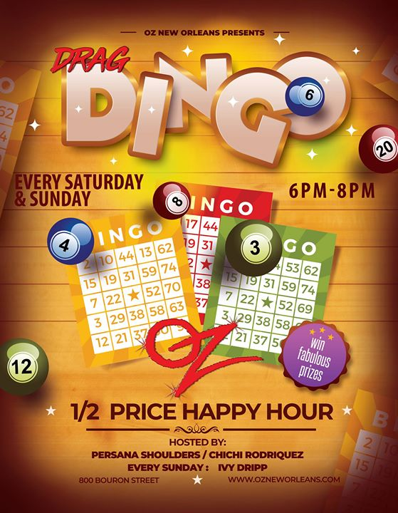New OrleansSunday Funday BINGO at Oz2019年 6月15日,18:00(男同性恋 下班后的活动)
