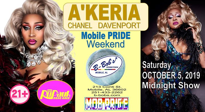A'Keria Chanel Davenport from RPDR at B-Bob's for Mobile Pride! a Mobile le sab  5 ottobre 2019 23:30-02:30 (Clubbing Gay)