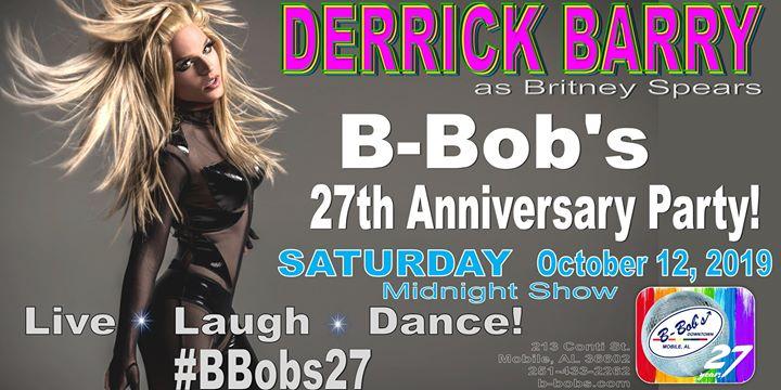 Derrick Barry at B-Bob's 27th Anniversary Party! a Mobile le sab 12 ottobre 2019 23:30-03:00 (Clubbing Gay)