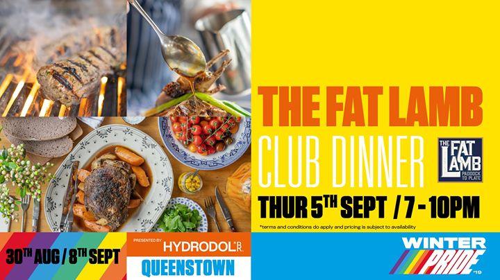 The Fat Lamb Club Dinner en Queenstown le jue  5 de septiembre de 2019 19:00-22:00 (Festival Gay, Lesbiana)