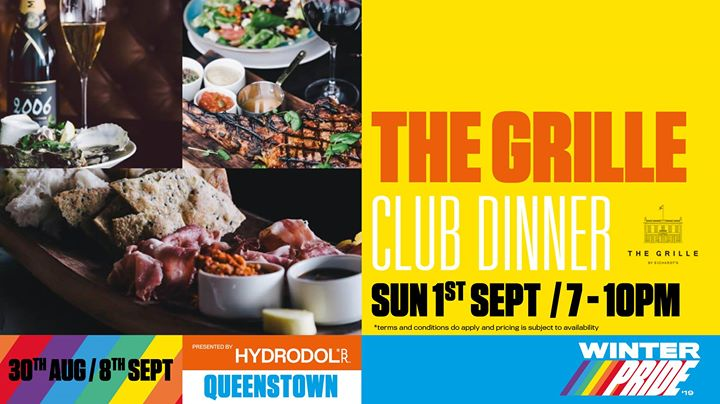 The Grille Club Dinner à Queenstown le dim.  1 septembre 2019 de 19h00 à 22h00 (Festival Gay, Lesbienne)