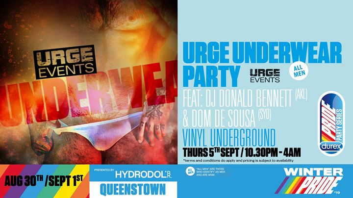 Urge Underwear Party - SOLD OUT in Queenstown le Thu, September  5, 2019 from 10:30 pm to 04:00 am (Clubbing Gay, Lesbian)