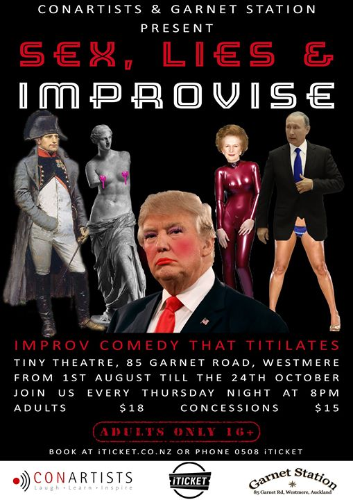 Sex, Lies and Improvise! in Auckland le Thu, August 29, 2019 from 08:00 pm to 09:00 pm (Show Gay Friendly, Lesbian Friendly)