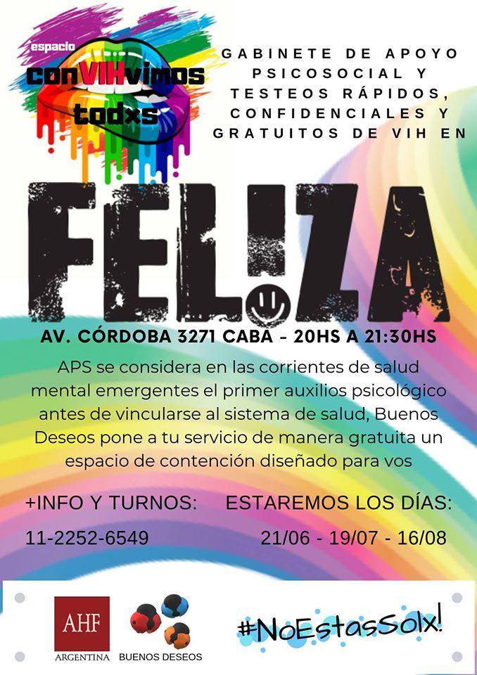 布宜诺斯艾利斯Test de VIH y Apoyo Psicosocial2019年 8月16日,20:00(男同性恋 健康预防)