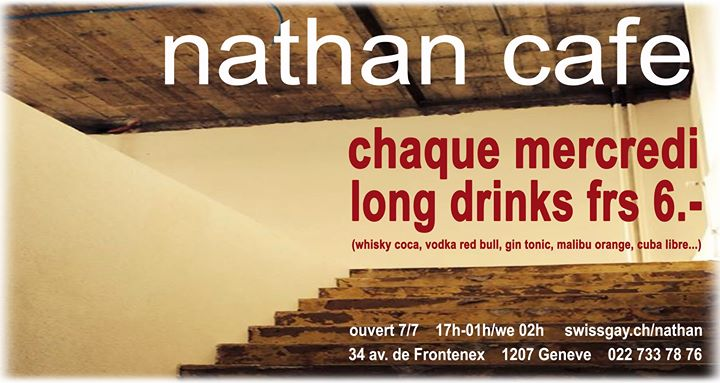 Les mercredis du Nathan Café Genève em Genebra le qua, 27 novembro 2019 17:00-01:00 (After-Work Gay)