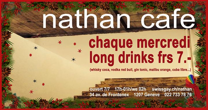 Les mercredis du Nathan Café Genève in Geneva le Wed, April 15, 2020 from 05:00 pm to 01:00 am (After-Work Gay)