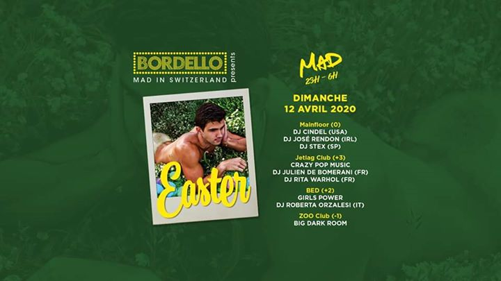 BORDELLO Easter * in Lausanne le Sun, April 12, 2020 from 11:00 pm to 06:00 am (Clubbing Gay, Lesbian, Hetero Friendly)