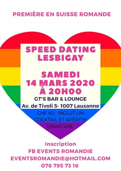 Speed Dating LesBiGay a Lausanne le sab 14 marzo 2020 19:00-02:00 (After-work Gay, Lesbica, Etero friendly)
