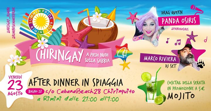 Chiringay | a Piedi Nudi Sulla Spiaggia in Rimini le Fri, August 23, 2019 from 09:00 pm to 01:00 am (After-Work Gay, Lesbian, Trans, Bi)