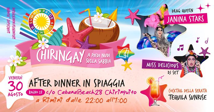 Chiringay | a Piedi Nudi Sulla Spiaggia in Rimini le Fri, August 30, 2019 from 10:00 pm to 01:00 am (After-Work Gay, Lesbian, Trans, Bi)